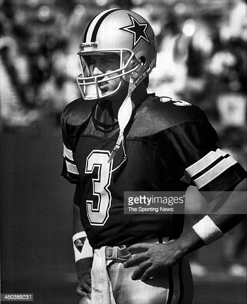 Steve Walsh of the Dallas Cowboys looks on during an NFL game circa 1989 in Dallas Texas Walsh played for the Cowboys from 198990