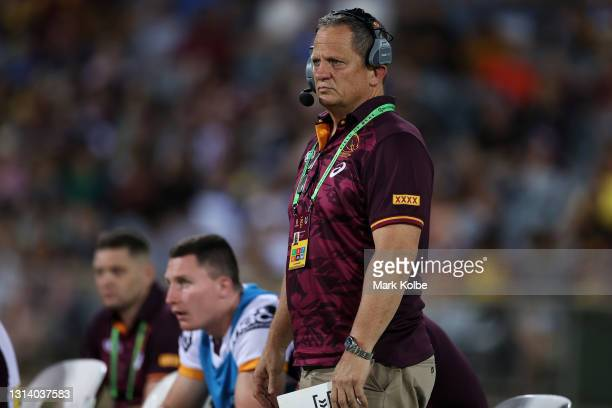 Steve Walters watches on from the bench during the round seven NRL match between the Parramatta Eels and the Brisbane Broncos at TIO Stadium, on...