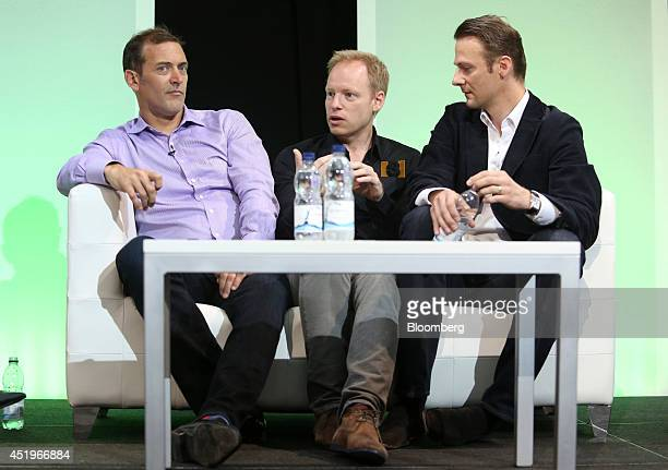 Steve Waterhouse, partner at Pantera Capital, left, Barend Van Den Brande, managing partner at Hummingbird Ventures, center, and Jan Hammer, partner...