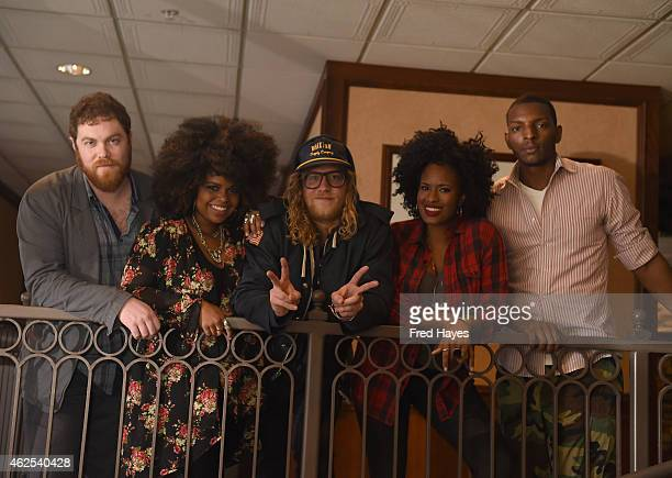Steve Watkins Jessica Childress Allen Stone Nayanna Holley and Jason Holt of the band Allen Stone attend ASCAP Music Cafe during the 2015 Sundance...