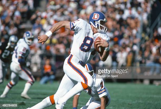 Steve Watson of the Denver Broncos carries the ball against the Oakland Raiders during an NFL football game October 4 1981 at the OaklandAlameda...