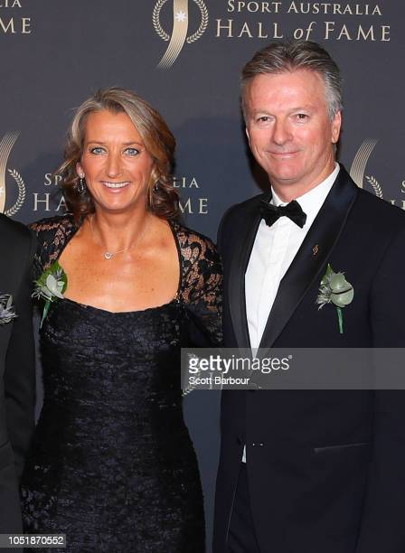 Steve Waugh and Layne Beachley arrive at the 2018 Sport Australia Hall of Fame Annual Induction and Awards Gala Dinner at Crown Palladium on October...