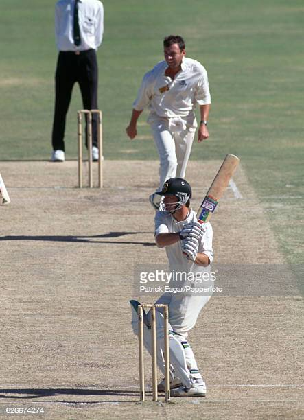 Steve Waugh batting for Australia during the 5th Test match between Australia and England at Perth Australia 4th February 1995 The bowler for England...