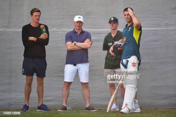 Steve Waugh chats with Mitch Marsh of Australia during an Australian training session at Adelaide Oval on December 5 2018 in Adelaide Australia