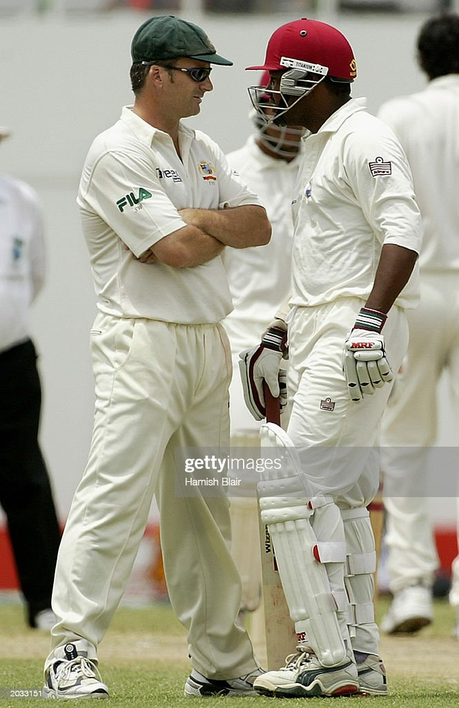 Steve Waugh of Australia and Brian Lara of the West Indies stand face to face during day two of the fourth test between the West Indies and Australia played on May 10, 2003 at the Recreation Oval in St John's, Antigua.