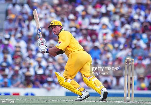 Steve Waugh of Australia bats during a One Day International match in Australia.