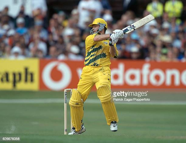 Steve Waugh of Australia batting during his 120 not out in the World Cup Super Six match between Australia and South Africa at Headingley Leeds 13th...