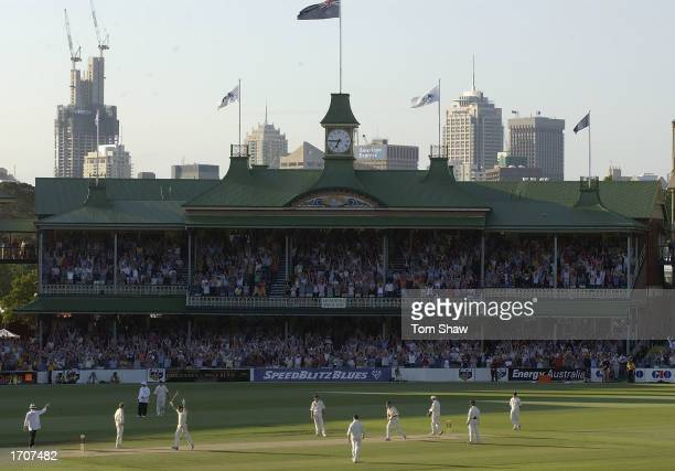 Steve Waugh of Australia celebrates reaching his century during the second day of the fifth Ashes test between Australia and England at the Sydney...