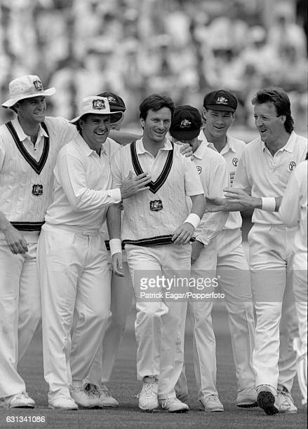 Steve Waugh of Australia celebrates with teammates after dismissing England batsman Kim Barnett during the 3rd Test match between England and...