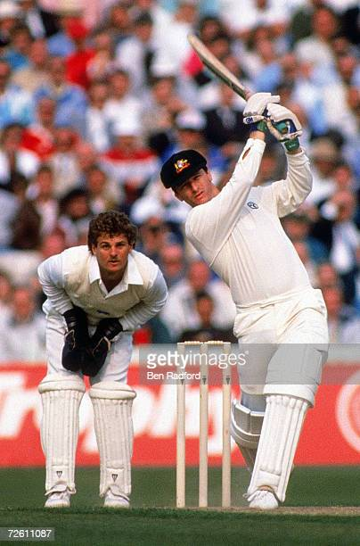 Steve Waugh of Australia hits out on his way to 177 not out during The Ashes First Test match between England and Australia on June 9 1989 at...