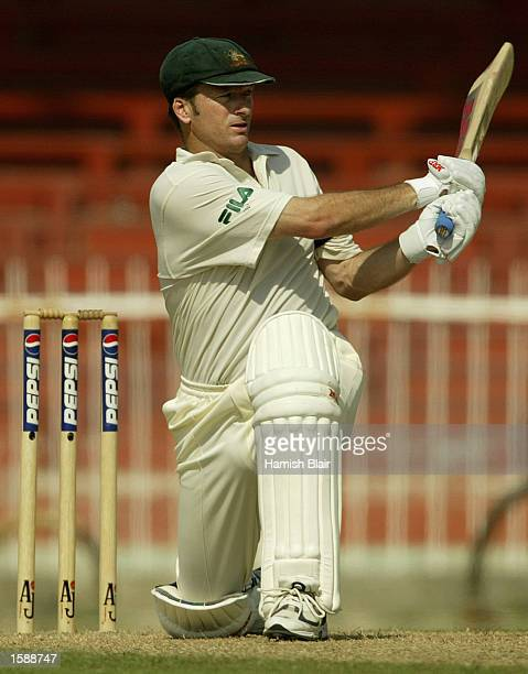 Steve Waugh of Australia in action during day two of the Third Test between Pakistan and Australia played at Sharjah International Cricket Stadium in...