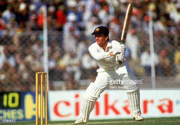 Steve Waugh of Australia in action during the 1987 Cricket World Cup held at Feroz Shah Kotla in Delhi India