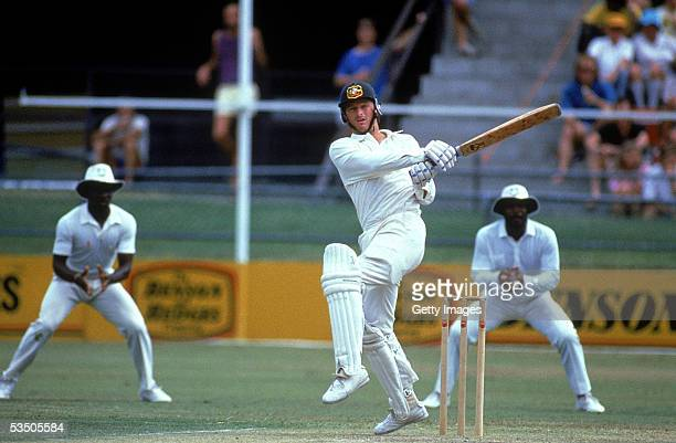 Steve Waugh of Australia in action during the 1st test match between Australia and the West Indies held at the GABBA 1988 in Brisbane, Australia.