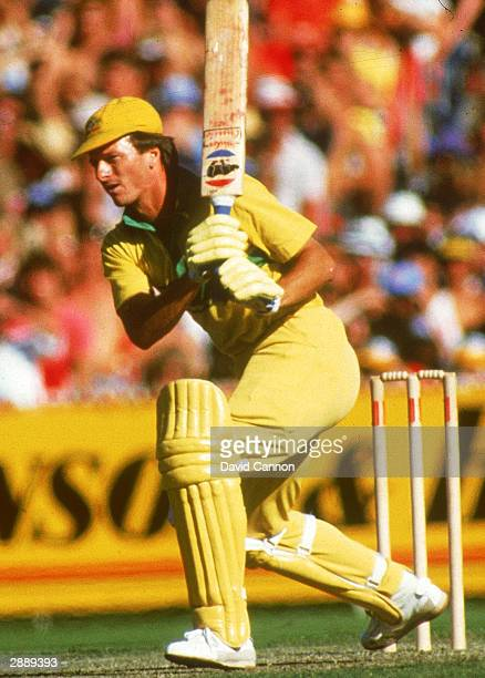 Steve Waugh of Australia in action during the Benson and Hedges World Series match against England at Melbourne Cricket Ground 1989 in Melbourne...