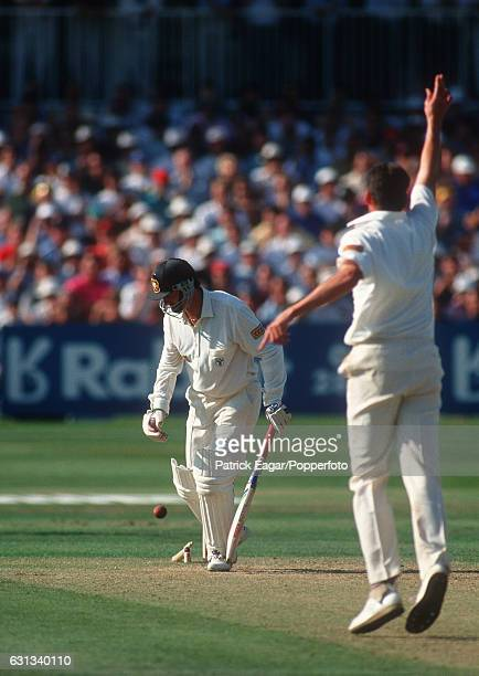 Steve Waugh of Australia is bowled by Angus Fraser of England during the 6th Test match between England and Australia at The Oval London 20th August...