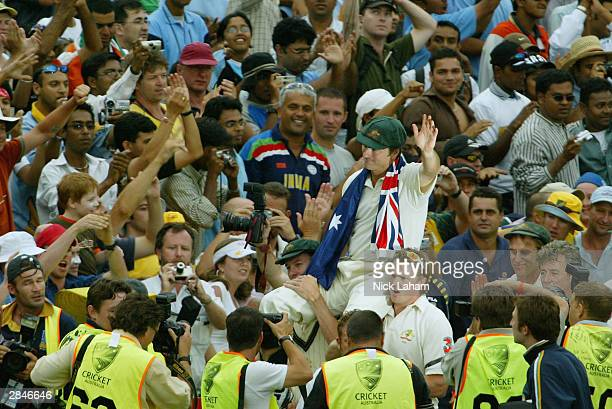 Steve Waugh of Australia is carried around the field after playing and captaining his last game for Australia during day five of the 4th Test between...