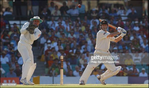 Steve Waugh of Australia scores his 10,000th Test run during his innings of 102 not out in the 5th Test match between Australia and England at the...
