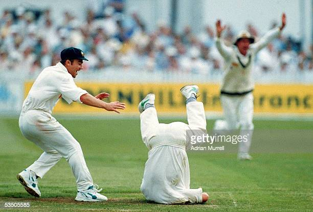 Steve Waugh of Australia takes a catch during the 3rd test match between England and Australia held at Trent Bridge 1993 in England