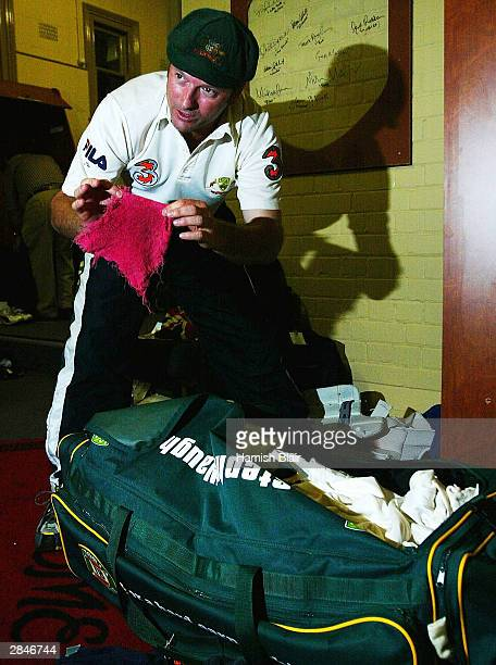 Steve Waugh of Australia who is retiring from Test Cricket packs his lucky red rag for the last time in the changing rooms after day five of the 4th...