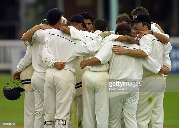 Steve Waugh [R] celebrates the wicket of Neil Burns with his Kent team mates on the final day of the Frizzell Division One County Championship match...