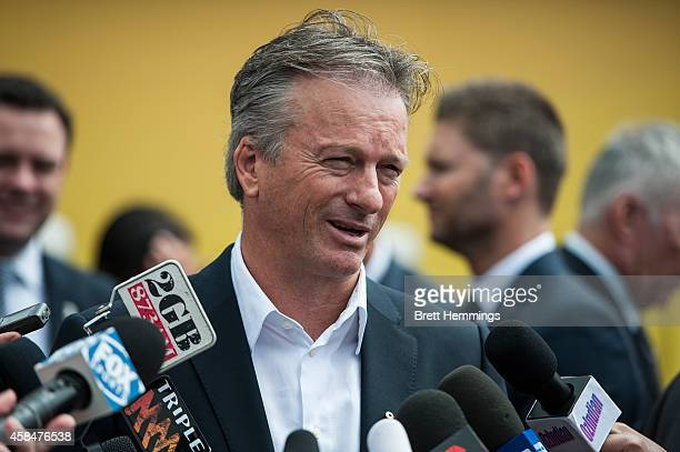 Steve Waugh speaks to the media during the ICC 2015 Cricket World Cup 100 days to go announcement on November 6 2014 in Sydney Australia