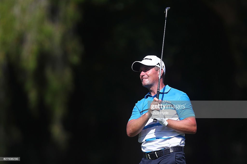 Steve Webster of England plays his second shot during day four of the 2016 Australian PGA Championship at RACV Royal Pines Resort on December 4, 2016 in Gold Coast, Australia.