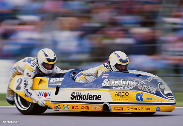 Steve Webster with his sidecar passenger Gavin Simmons rides the Silkolene LCRKrauser during the FIM Dutch motorcycle sidecar Grand Prix on 26 June...