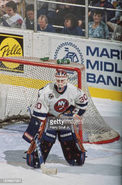 Steve Weeks, Goaltender for the New York Islanders looks on from in front of the goal post during the NHL Prince of Wales Conference Adams Division...
