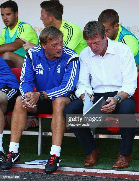 Steve Wigley Assistnat Manager and Stuart Pearce manager of Nottingham Forest look on during the Pre Season Friendly match between Rotherham United...