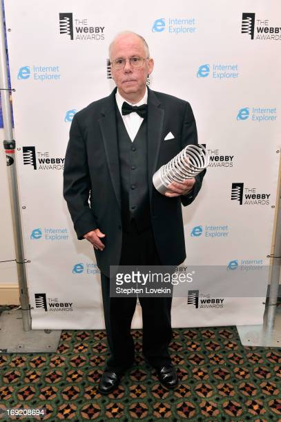 Steve Wilhite inventor of the GIF file poses with an award backstage at the 17th Annual Webby Awards at Cipriani Wall Street on May 21 2013 in New...