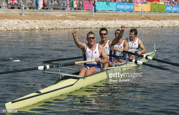 Steve Williams James Cracknell Ed Coode Matthew Pinsent celebrate their win in the men's four final on August 21 2004 during the Athens 2004 Summer...