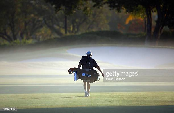 Steve Williams of New Zealand the caddy of Tiger Woods of the USA on the 5th fairway during the final day of practice for the World Golf...