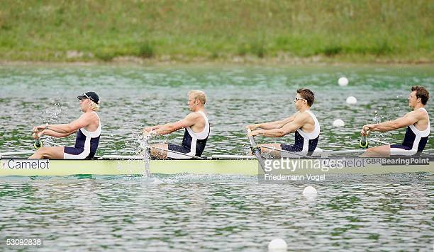 Steve Williams Peter Reed Alex Partridge and Andrew Triggs Hodge of Great Britain in action during the Men's four of the BearingPoint Rowing World...