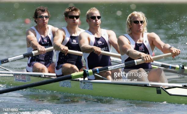 Steve Williams Peter Reed Alex Partridge and Andrew Triggs Hodge of Great Britain in action in the Men's Four heats during Day One of the FISA Rowing...
