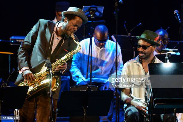 Steve Williamson performs on stage for John Coltrane's A Love Supreme reenvisioned during James Lavelle's Meltdown at the Queen Elizabeth Hall on...