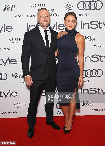 Steve Willis and Michelle Bridges arrive ahead InStyle and Audi Women of Style Awards at The Star on May 12 2016 in Sydney Australia