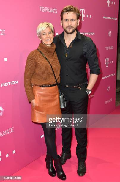 Steve Windolf and his wife Kerstin Landsmann attend the DeutschLesLandes premiere at Haus der Kunst on October 23 2018 in Munich Germany