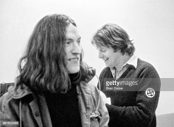 Steve Winwood and Chris Blackwell head of Island Records on tour with Traffic in Europe on 28th March 1973