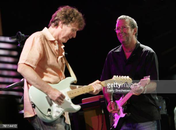 Steve Winwood and Eric Clapton perform at Eric Clapton's Crossroads Guitar Festival 2007 held at Toyota Park on July 28 2007 in Bridgeview Illinois