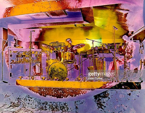 Steve Winwood, Jim Capaldi, Chris Wood of Traffic perform with their psychedelic lightshow at The Kirklevington Country Club near Middlesbrough...