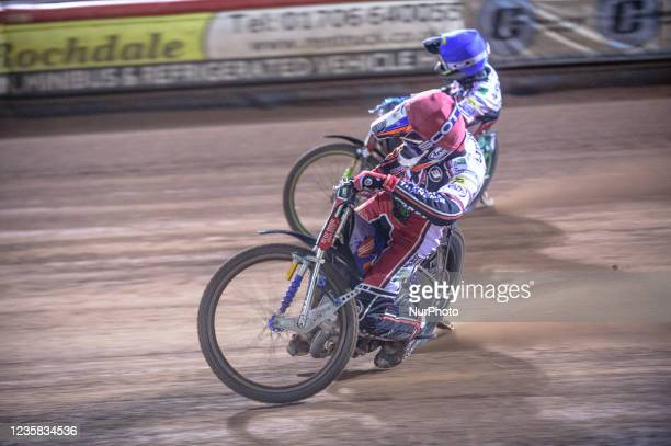 Steve Worrall inside team mate Charles Wright during the SGB Premiership Grand Final 1st Leg between Belle Vue Aces and Peterborough Panthers at the...