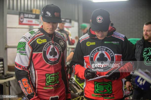 Steve Worrall with Mark Lemon as they decide on the nominated riders race during the SGB Premiership Grand Final 1st Leg between Belle Vue Aces and...