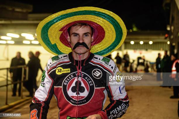Steve Worrall with the Mexican look during the SGB Premiership Grand Final 1st Leg between Belle Vue Aces and Peterborough Panthers at the National...