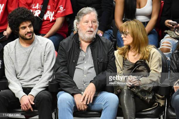 Steve Wozniak attends an NBA playoffs basketball game between the Los Angeles Clippers and the Golden State Warriors at Staples Center on April 18...