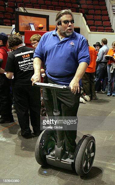 Steve Wozniak cofounder of Apple computer enters the pit area on a Segway at the at the FIRST Boston Regional robotics competition at Boston...