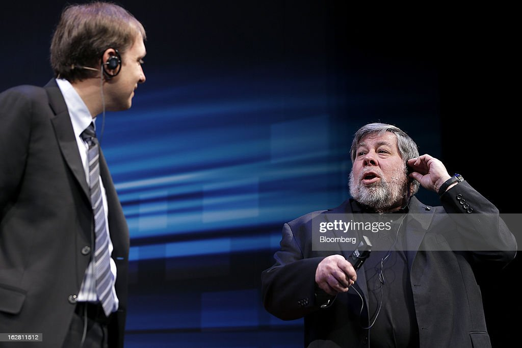 Steve Wozniak, co-founder of Apple Inc. and chief scientist of Fusion-io Inc., right, speaks with David Flynn, chairman and chief executive officer of Fusion-io Inc., during a Q&A session during a news conference in Tokyo, Japan, on Thursday, Feb. 28, 2013. Wozniak is currently chief scientist at Fusion-io, a maker of data-storage computers. Photographer: Kiyoshi Ota/Bloomberg via Getty Images