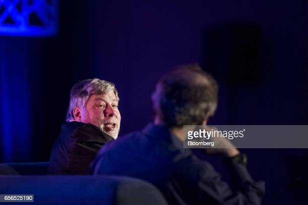 Steve Wozniak cofounder of Apple Inc and chief scientist of Primary Data left speaks during the TechIgnite conference in Burlingame California US on...