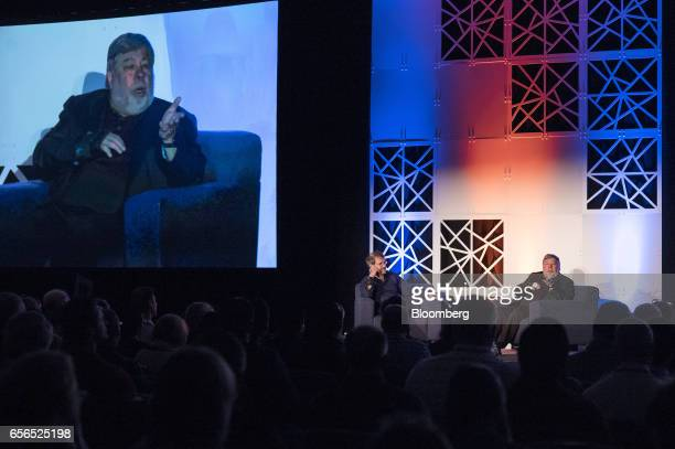 Steve Wozniak cofounder of Apple Inc and chief scientist of Primary Data right speaks during the TechIgnite conference in Burlingame California US on...