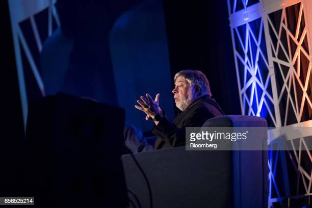 Steve Wozniak cofounder of Apple Inc and chief scientist of Primary Data speaks during the TechIgnite conference in Burlingame California US on...
