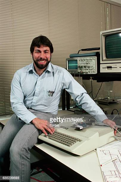Steve Wozniak designer of the Apple II sits with one of the machines which was the most successful personal computer of its day